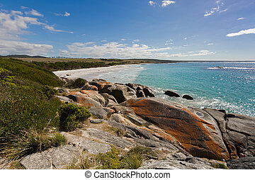 Bay of Fires in Tasmania. White sand beach with beautiful...