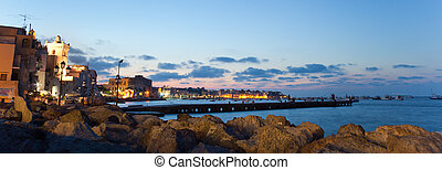 Bay of Ischia island, Italy - Bay by night of Ischia island,...