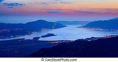 Bay of Kotor at Night. High Resolution Panorama of...