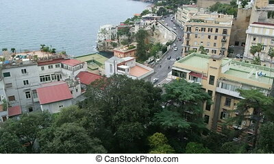 Bay of Naples in the autumn overcast day, residential area on the coast