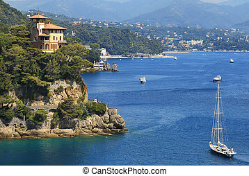 Bay of Portofino. Liguria, Italy. - Yacht a sailing along...