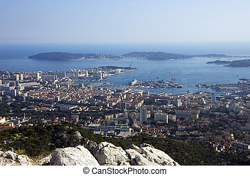 Bay of Toulon and city on french riviera, France.