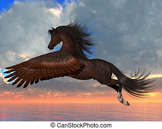 Bay Pegasus Horse - An Arabian Pegasus horse flies over the...