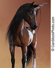 Bay Pinto Unicorn - A bay pinto unicorn has the small body...