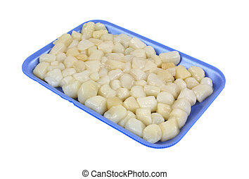 An angle view of shelled bay scallops in a blue styrofoam tray on a white background.