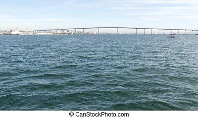 bay., usa., américain, océan, célèbre, bateau, city., pont, comté, voitures, transport, coronado, automobile, port, vue, californie, san, surface, diego, pacifique, sur, eau, mer, infrastructure