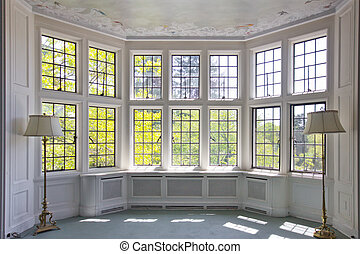 Bay Window - French pane bay window in empty room interior