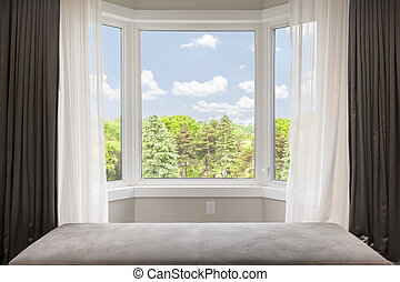 Bay window with summer view - Bay window with drapes,...