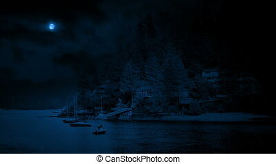 Bay With Boats And Houses At Night - Lakeside scene of...