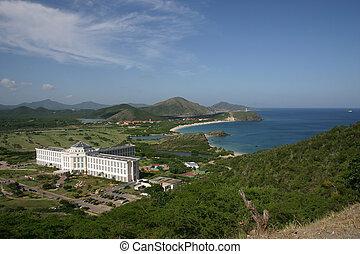 Bay with development on Isla de Margarita in Venezuela
