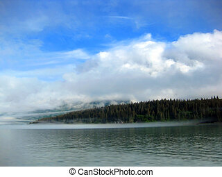 Bay With Lifting Mist Near Valdez - Quiet waters of Valdez ...