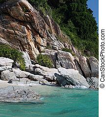 bay with rocks at summer