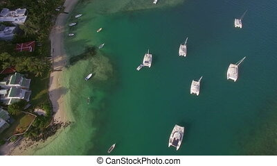 Bay with yachts and boats, aerial view