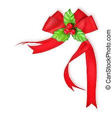 baya acebo, y, arco rojo, cinta, decoración de navidad, frontera