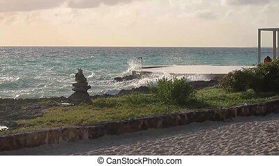 Bayahibe sea with zen rocks at sunset