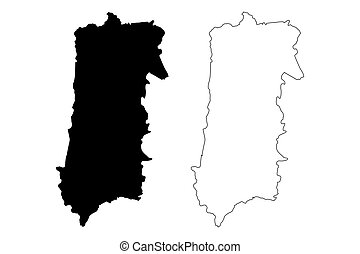 Bayamon municipality (Commonwealth of Puerto Rico, Porto Rico, PR, Unincorporated territories of the United States) map vector illustration, scribble sketch Bayamon map