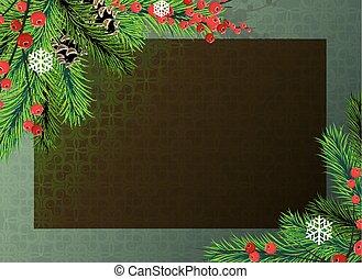 bayas, árbol, navidad, plano de fondo, rojo