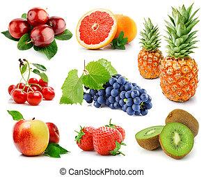 bayas, blanco, conjunto, aislado, fruits