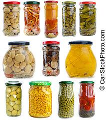 bayas, diferente, conjunto, vegetales, hongos, vidrio, conserved, tarros
