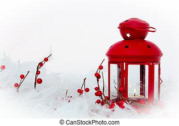 bayas, lámpara, nieve, navidad, vela, acebo, decoración
