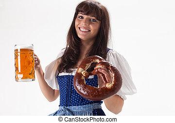 bayersk, öl, flicka, dräkt