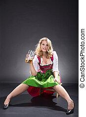 bayersk, öl, kvinna
