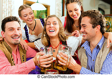 bayersk, drickande, öl, pub, folk