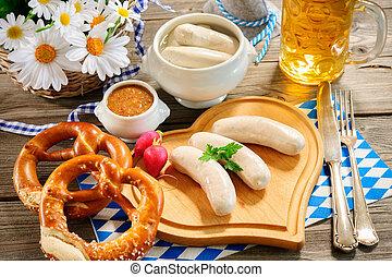 bayersk, kalvkött, korv