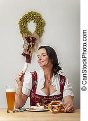 bayersk, kvinna ätande, dirndl