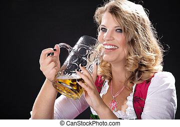 bayersk, kvinna, öl
