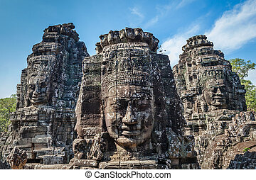 bayon, angkor, temple, cambodge, faces