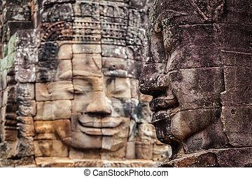 bayon, angkor, temple, cambodge, faces