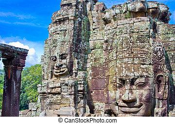 bayon, -, azie, zuidoosten, cambodja, tempel, wat, angkor