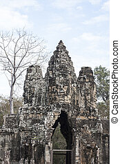 bayon, figure, thom angkor, siem, récolter, cambodia.