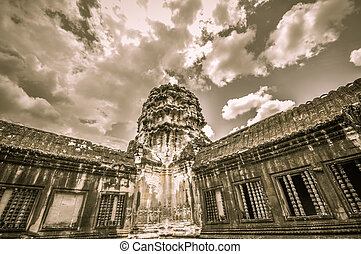 Bayon Temple and Angkor Wat Khmer Kingdom Religion complex...