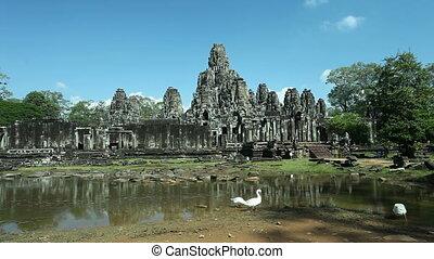 Bayon Temple, Angkor, Cambodia - View on Bayon Temple in...
