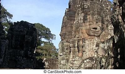 Bayon temple Angkor Cambodia - Zoom in on Bayon temple...