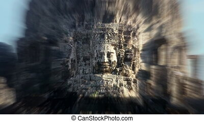 Bayon temple Angkor Cambodia - Zoom in on the entrance Bayon...