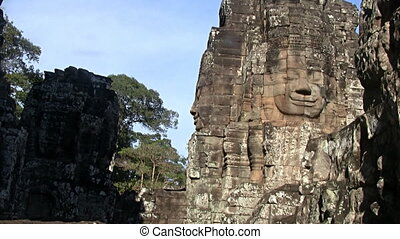 Bayon temple Angkor Cambodia - Zoom in on Bayon temple...