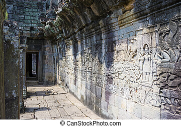 Image of UNESCO's World Heritage Site of Bayon, which is part of the larger temple complex of Angkor Thom, located at Siem Reap, Cambodia. This is one of the temples in Siem Reap where the Hollywood movie Lara Croft Tomb Raider was filmed at.