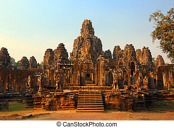 Bayon Temple at sunset in Cambodia