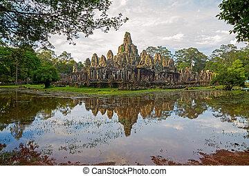 Bayon temple at sunset, Angkor Wat, Siem Reap, Cambodia