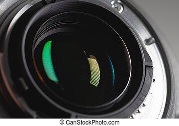 Bayonet lens close-up macro shot of an extension tube. Auto Focus Lens Contacts.
