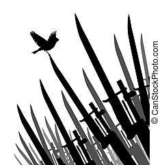 bayoneta, pájaro, paz