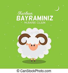 bayrami, 祝祭, al-adha, kurban, eid, sacrifice., muslim, イラストレーター