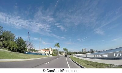 Bayshore Boulevard the longest continuous sidewalk in the world. The 3-mile (4.8 km) bike lane, a linear park, and the Bayshore Greenway Trail provide scenic views of urban Tampa and the water in USA