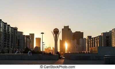 Bayterek - the central point of interest the capital of Kazakhstan. The transition from day to night. TimeLapse