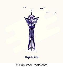 BAYTEREK TOWER Landmark Purple Dotted Line skyline vector illustration