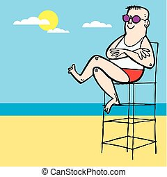 Baywatch lifeguard boy beach vector illustration cartoon