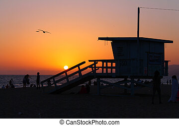 Baywatch sunset on the California coast